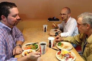 Steve King, Bryan Whitchurch and Bernard Sheehan speaking Latin over lunch at the Conventiculum Latinum. Photo by Heather Chapman
